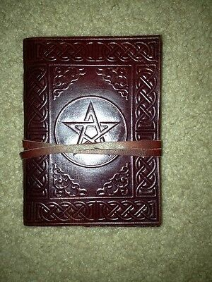 """Handmade Leather 4""""x5"""" Journal Blank Diary Celtic Pentagram Book of Shadow Wicca"""