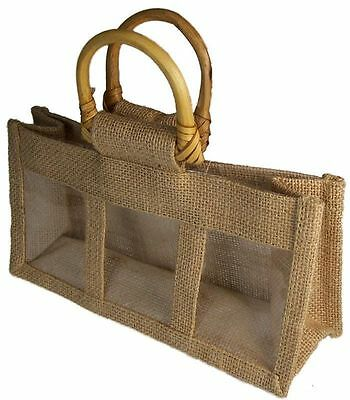 5 x  Small Jute/Hessian Gift Bag With Clear Window 2 jar or 3 jar GREEN LEFT