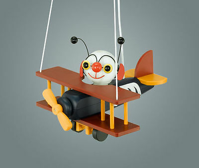 Childrens Wooden Aeroplane Ceiling Light with Airman - Pendant Light + Lamp/Bulb