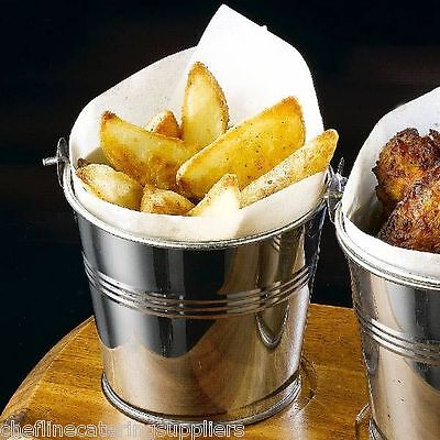 4 x Stainless Steel Serving Buckets, Food Presentation, Chip Fries Display Pot