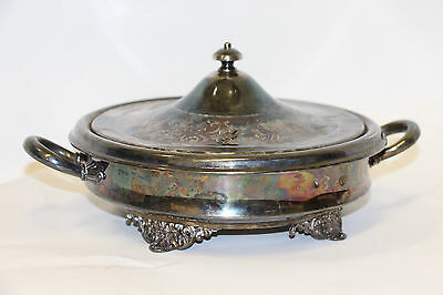 Vintage Monarch Plate Brand Silver Plated Footed Serving Bowl Server With Lid