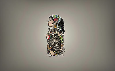 A4 Poster – Gypsy Woman with Owl (Picture Print Art Animal Bird Minimal)
