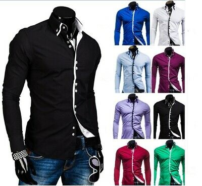 Stylish Mens Slim Fit Casual Double Collar Shirt Long Sleeve M L XL XXL DC12