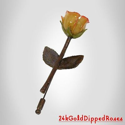 3 Copper Dipped Cream /Pink Rose Pins 2 Leaves (Free Anniversary Gift Boxes)
