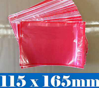 Document Enclosed Pouch 115x165mm RED CLEAR Window Sticker & Plain x 1000