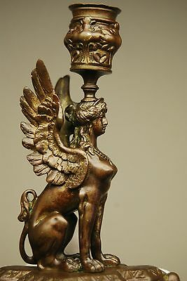 Antique Old English Bronze Egyptian Revival French Sphinx Candlestick Candelabra