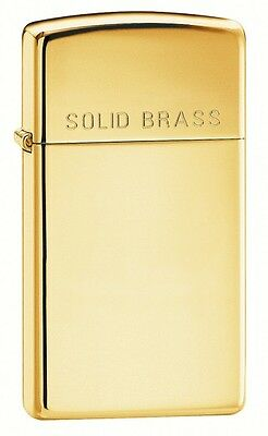 Zippo Plain Slim Polished Brass with Solid Brass engraved on lid - Zippo 1654