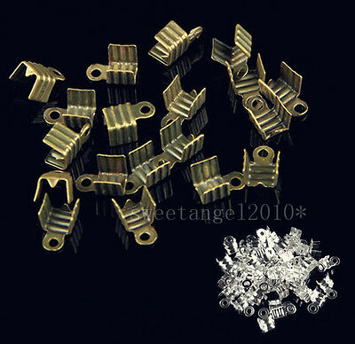 100/300Pcs silver plated Fold Over End beads Crimp Cord jewelry making 7x4mm