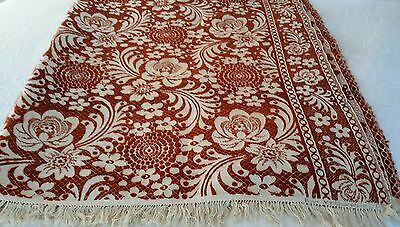 Antique Gorgeous Vintage Wool and Cotton Hand Woven Coverlet Rust Orange Brown