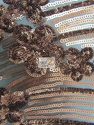 "COSMIC FLORAL SEQUINS MESH FABRIC - Bronze - 54""/56"" BY THE YARD DRESS GOWNS"