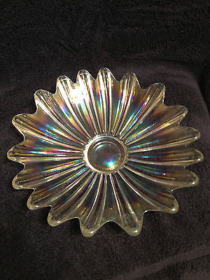 Vintage Fostoria Iridescent Clear Glass Flower Shaped Serving Bowl Dish