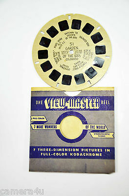 """Collectable Early Version Hand Written """"Garden Of The Gods #51"""" View Master Reel"""