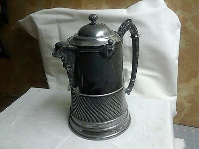 Reed Barton Water Ice Pitcher Antique Ice Guard Spout Neptune Silverplate