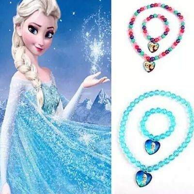 FROZEN Elsa Anna 2PC Set Girls Necklace + Bracelet Christmas Gift Dress Up Party