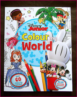 DISNEY JUNIOR COLOUR MY WORLD - ACTIVITY COLOURING BOOK - Over 60 pgs NEW