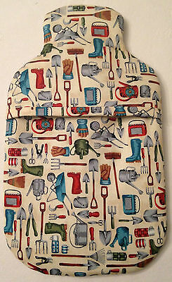 Garden Tools ~ Allotment  ~ Hot Water Bottle Cover ~ Free Uk Postage