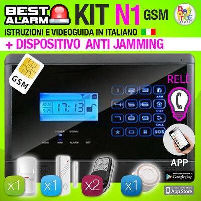 Antifurto Kit N1 Allarme Touch Casa Combinatore Gsm Wireless  Antijamming