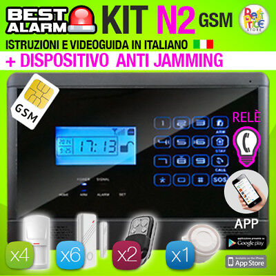 ANTIFURTO KIT N2 ALLARME CASA 433 Mhz COMBINATORE GSM WIRELESS - ANTIJAMMING