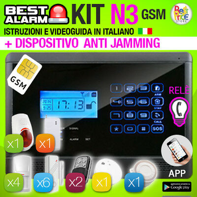 ANTIFURTO KIT N3 ALLARME TOUCH CASA 433 Mhz COMBINATORE GSM WIRELESS ANTIJAMMING