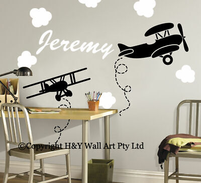 Airplanes Clouds Custom Personalized Name Wall Stickers Kids Art Nursery Decal