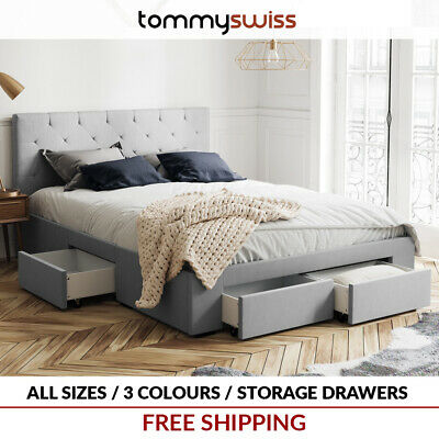 TOMMY SWISS: NEW King & Queen French Provincial Wing Fabric Bed Frame - B302