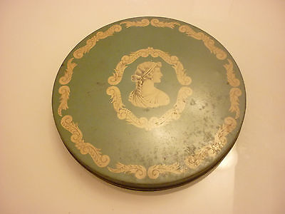 "Vintage Antique 10"" Round Metal Tin Box - Candy Cookies Ornate Design Green"