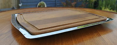 VINTAGE MID CENTURY VINERS GERALD BENNEY STAINLESS STEEL TRAY TEAK/ BREAD BOARD