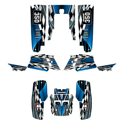 Yamaha Banshee graphics full coverage decal kit free custom service #2500 blue