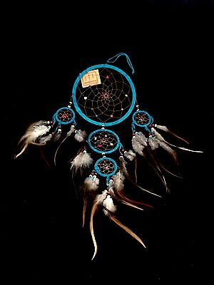 "Handmade Hippie Big 6 1/4"" TURQUOISE Blue XL Indian Feather Dream Catcher Charm"