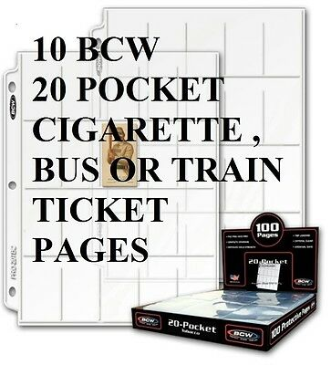 10 Bcw 20 Pocket Pages  Tobacco Trading Cards Railway Bus Tickets