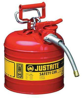 JUSTRITE 7220120 Type II Safety Can, Red, 13-1/4 In. H