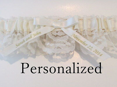 Ivory Lace Gold Writing Personalized Garter Choose Your Charm! Wedding Bridal