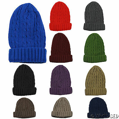 Knitted Beanie Hat Winter Warm Wooly Unisex Kids Ladies Ski Skull Turn Up