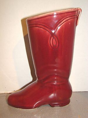 Shawnee Pottery Red Burgundy Cowboy Boot Vase
