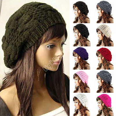 NEW WARM WINTER WOMEN BERET BRAIDED BAGGY KNIT CROCHET BEANIE HAT SKI CAP 10
