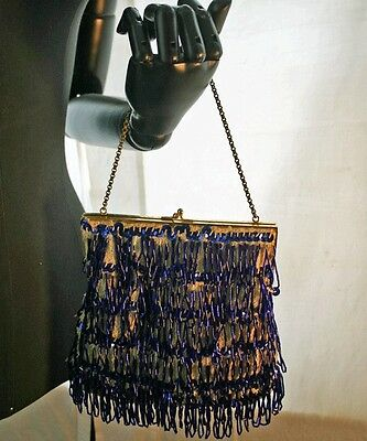 Vintage Cobalt Blue Bugle Beaded White Knit Handbag 60s