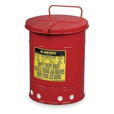 JUSTRITE 09310 Oily Waste Can, 10 Gal., Steel, Red