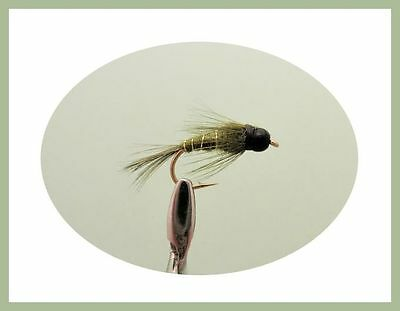Tungsten Bead Trout Flies, 8 Pack Tungsten Olive Nymph, 10/12/14 For Fly Fishing