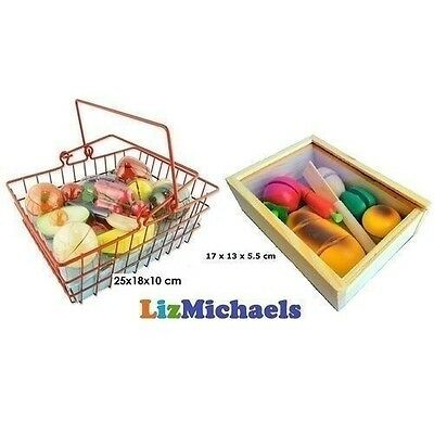 Wooden Fruit Basket & Bread Box Food Vegetable Pretend Play Kitchen Toy Set