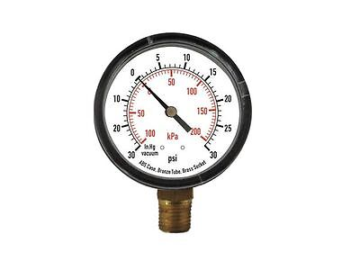 """Compound Gauge, 2-1/2"""" Dial, 30"""" Hg Vac to 30 psi, -100 to 200 kPa, 1/4"""" NPT"""