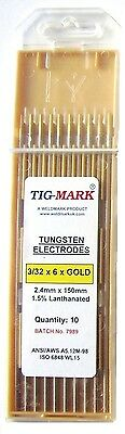 Pk 10 1.6mm x 150mm GOLD TIPPED TUNGSTEN ELECTRODES