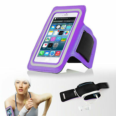 """iPhone 6 4.7"""" Purple Premium Sports Armband Cover Case Running Gym Workout"""