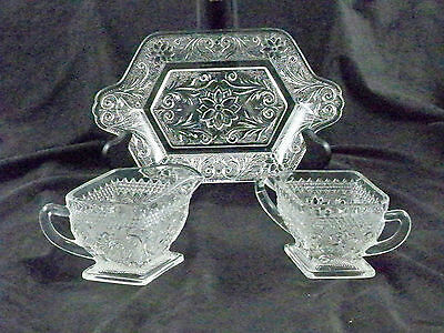Vintage Indiana Sandwhich Glass Crystal Cut 3 pcs Set Creamer Sugar With Tray