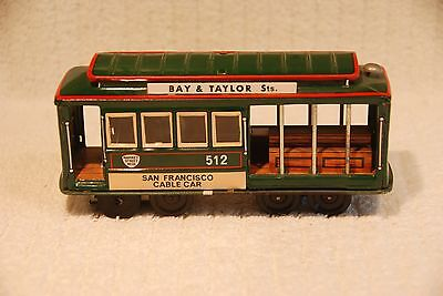 """1950's Tin Toy CABLE CAR San Francisco 6-1/2"""", Made in Japan, EXCELLENT"""