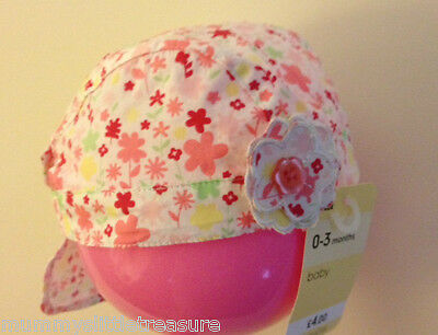 Bnwt Mothercare Floral Head Scarf Sun Hat Bandana Sun Protection 0-3 Months