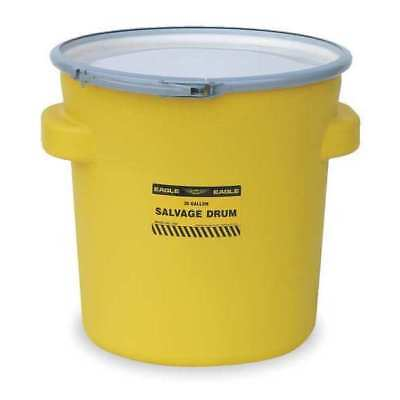 EAGLE 1654 Salvage Drum, Open Head, 20 gal., Yellow