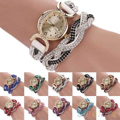 Women's Chic Classic Two Tone Rhinestone Wrap Faux Suede Bracelet Wrist Watch