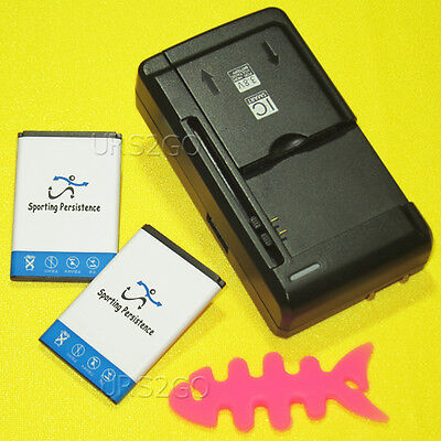 2x 1060mAh Spare Replacement Battery Dock Charger for TRACFONE SAMSUNG SGH-S125G
