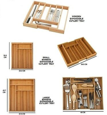 Bamboo / Wooden Extending Cutlery Tray Organiser Expandable Drawer Storage Box