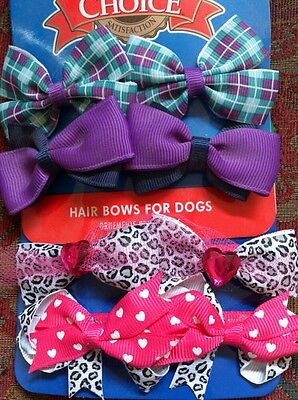 8 hair bows for dogs Blue, Pink and Purple